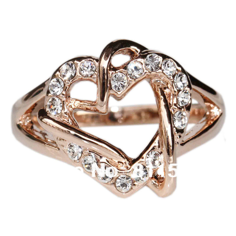 Min.order is $10 (mix order) Heath Jewelry 18K rose Gold Plated Heart Shaped Nickel Free Plating Platinum Austrian Crystal R315(China (Mainland))
