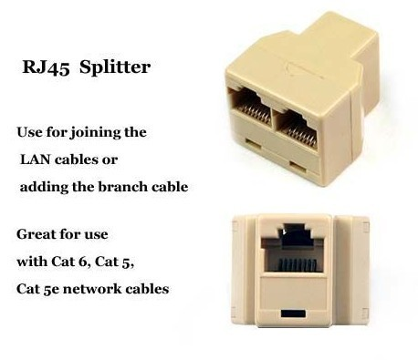 RJ45 LAN Splitter Combiner 1 to 2 Way Connector Adaptor With Package wholesale 20pcs/Lot Free Shipping(China (Mainland))