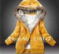 Vogue Pattern Artificial Fur Decorate Coat Yellow    JR00816-2