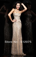 Wholesale -luxuriant Sexy lace Beaded Crystals chiffon  Evening Dresses Prom Dresses 2015