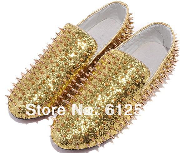 golden men leisure shoes Drop ship studed men sneakers(China (Mainland))