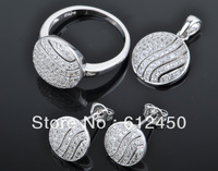 2013 fashion  newest design Wholesale 925 sterling silver Micro Pave zircon crystal jewelry Set: rings &pendant& earring S-16