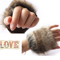 New Arrival Autumn and Winter imitation rabbit Fur Gloves Ladies' Fingerless gloves,10 pairs MOQ,Free shipping