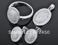2013 fashion  newest design Wholesale 925 sterling silver Micro Pave zircon crystal jewelry Set: rings &pendant& earring S-17