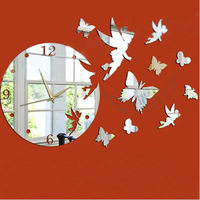 Free shipping Nf007 diy home decoration three-dimensional wall stickers eco-friendly living room wall clock mirror clock