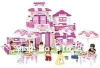 Original Box Sluban Pink Dream Series Romantic Restaurant Building Block Sets 306pcs Enlighten Educational Brick toy B0150