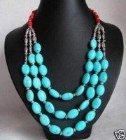 Beau collier argent de turquoise du Thibet
