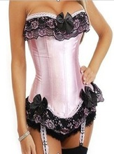 High Fashion Boned Lace Up Back Corset Hot Sale Pink with Black Lace Bustier With G-string(China (Mainland))