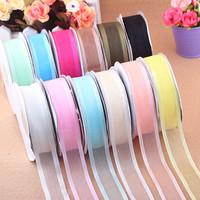 Chiffon + ribbon 48 yarns 23mm yarn 12colors party weddingfree shipping  girl baby headband ribbon hair