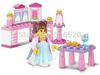 Sluban Pink Dream Series The Princess Little Room Building Block Sets 35pcs Enlighten Educational DIY Brick toy B0238
