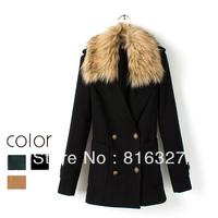 Free Shipping Women's 2013 Winter fashion casual double breasted large fur collar woolen overcoat wool coat women