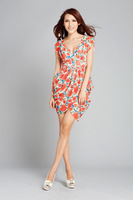 19 2012 summer V-neck pleated casual chiffon dress one-piece dress print one-piece dress casual chiffon dress full dress