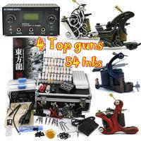 Professional tattoo kit 4pcs Machine Guns Power 40 Color 5ml/bottle tattoos equipment supply free shipping