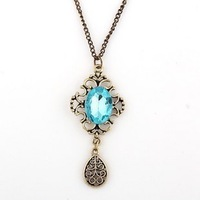 Min.order is $15 (mix order) 2012 fashion royal vintage cutout carved lake blue gem female necklace ZD1320