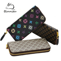 Freeshipping Bunny 2014  leather bags new fashion four leaf clover print medium-long women's wallet