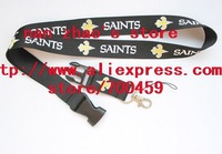 Hot 10pcs SAINTS team sport Lanyard for MP3/4 cell phone/ key /Neck Strap Lanyard WHOLESALE Free shipping