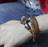 Min.order is $15 (mix order) 3072 accessories vintage flower hasp paragraph national trend cowhide bracelet bracelet