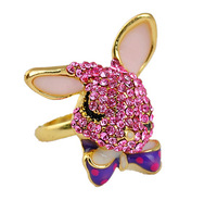 Min.order is $15 (mix order) 4151 accessories vintage claretred long ears full rhinestone fashion rabbit ring finger ring 10