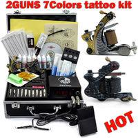 Tattoo Kit 2 TOP machines Gun Power Supply 7 color 10ml Inks Power supply needles Equipment Set Free shipping