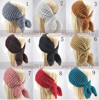 Women Lady Headband Wide Knit Muffler crochet Headwrap Hairband