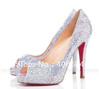 2012 open toe crystal high heels wedge sandals platform pumps wedding shoes high heel shoes
