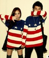 Free Shipping, 2013 fashion five-pointed star stripe lovers american flag long-sleeve T-shirt sweet lovers