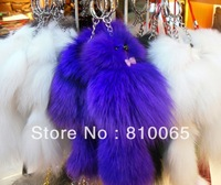fox fur charm keychain 18cm long fur pom fur ball decoration soft & puffy free ship 30pcs/lot