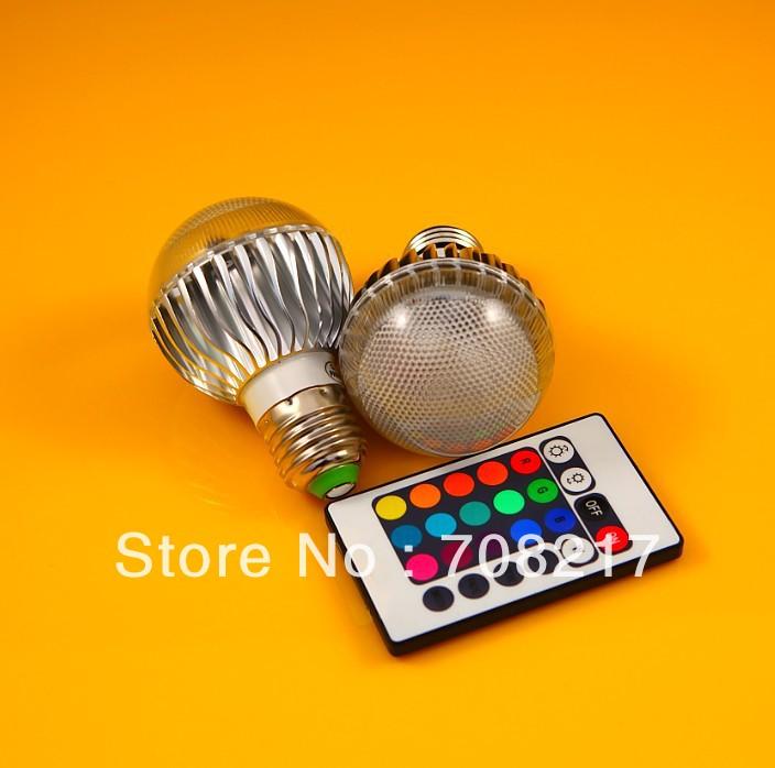 DHL Free Shipping AC 85-265V RGB LED Lamp 12W E27 led Bulb Lamp with Remote Control led bulb light(China (Mainland))