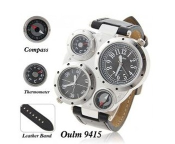 Oulm Adventure Men's Quartz Military Wrist Watch with Dual Movt Compass & Thermometer Function Round Shaped Black 23mm Leather