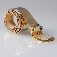 Fashion couple metal belt Bright patent leather wild men and women belt