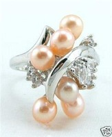 Shining Pink pearl Lady's Ring 6-9