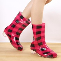 Female boots jelly female rainboots fashion high-heeled knee-high slip-resistant water shoes intercropping