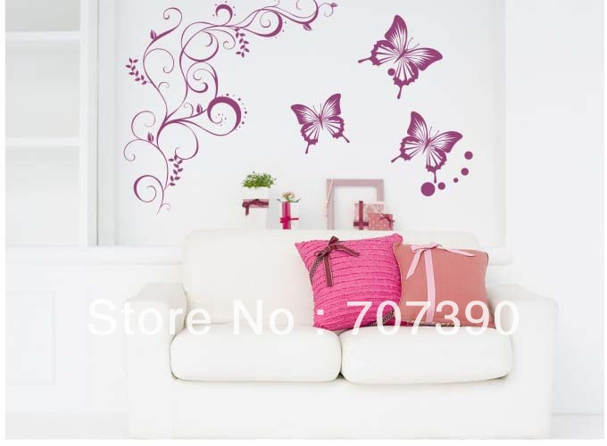 3sets/lot Decals Wall decor Home sticker Art PVC Vinyl Decoration Carved KF124 Batterfly 110*110cm*2(China (Mainland))