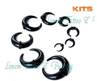 Free Shipping 100pcs/LOT black color mix sizes Buffalo Ear Taper Stretcher Acrylic Kit Ear Expander Plug piericng jewelry 2-14mm