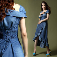 Bohemia Fashion Vintage Slash Neck Back Bandage Jeans Irregular Ruffle Dovetail Bottom Denim Maxi Full Dress