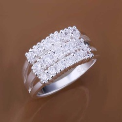 Free Shipping 925 Sterling Silver Jewelry Ring Fine Fashion Silver Plated Zircon Leaf Women&amp;Men Finger Ring Top Quality SMTR143(China (Mainland))