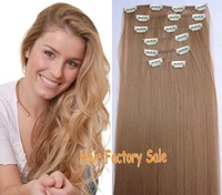 "Direct Hair Factory Sale 130g/7pcs/22"" Straight Heat Resistant Synthetic Hair Clip in Hair Extensions #27D Honey Blonde"