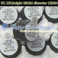 200pcs/lot DC 12V,height 10MM diameter 12MM ,Active buzzer,no.8 free shipping