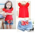2013 Hot sale summer girls toddler clothing set 2pcs kidsred short sleeve t shirts+bow shorts baby suit set girls` suits