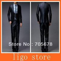 fashion brand men's business suit slim wedding dress/ 1 button include pant  jacket vest navy blue and black