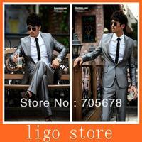 new  luxury slim men's business suit  wedding dress suits/one button brand shine slim suits for men size XS-XXXXL