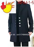new  fashion Black four buckle slim men  coat casual overcoat