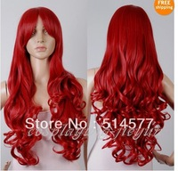 "NEW32""80cm Heat Resistant Cherrey Red Long Wave Curly Cosplay Costume Party Wig  Free shipping"