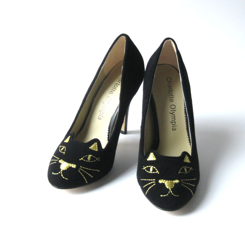 Charlotte Olympia CO Cat face high heel black suede pumps women fashion shoes spide bottem(China (Mainland))
