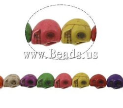Free Shipping! 40PCs/Lot 16-Inch Mixed Color Skull Howlite Findings Loose Beads 10x8mm Fit Shamballa Bracelet Making(China (Mainland))