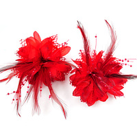 Bride Red Hair Accessory Wedding Headdress Flower Wrist Length Flower Corsage Free Shipping