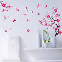 New Arrivals PVC third generations of 50*70cm can be removed China style red beautiful plum blossom Wall stickers FREE SHIPPING
