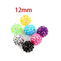 Free Shipping 100pcs Random Mixed Disco Beads Acrylic Rhinestone Iced Charms Beads Fit Bracelets DIY 12mm (w00785F)