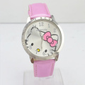 Free shipping wholesale Fashion hello kitty pink Wrist watches for children women 5 color  charms