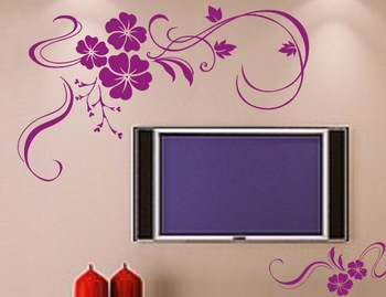 Fashion Flower Vines Removable Vinyl Art Wall Sticker DIY 3D House Decoration Decals Quote Dining Room Decor